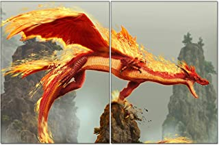 2 Pieces,Canvas Wall Art Painting Picture,Flaming Dragon On A Rock Cliff Wall Art for Living Room,Home Artwork Painting for Bedroom Decor Modern Salon Kitchen Office Hang 6