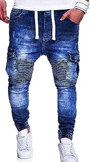YYG Mens Casual Moto Biker Stretchy Multi-Pockets Ruched Jogger Cargo Denim Pants Jeans