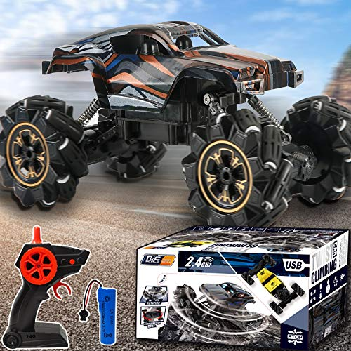 TURNMEON Remote Control Car, RC Cars Toy Xmas Gifts for Kids Boys with Lights Music 1:14 Scale 4WD Off Road Vehicle Rechargeable Climbing Truck Crawler Toy Cars for Boys Kids Teens Holiday Toy Gifts
