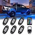 MustWin RGB LED Rock Lights,90 LEDs Multicolor Neon Underglow Waterproof Music Lighting Kit with APP & RF Control for Jeep Off Road Truck Car ATV SUV Motorcycle?6 Pods?