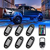 MustWin RGB LED Rock Lights, 90 LEDs Multicolor Neon Underglow Waterproof Music Lighting Kit with APP & RF Control for Jeep Off Road Truck Car ATV SUV Motorcycle(6 Pods)-Ship from America