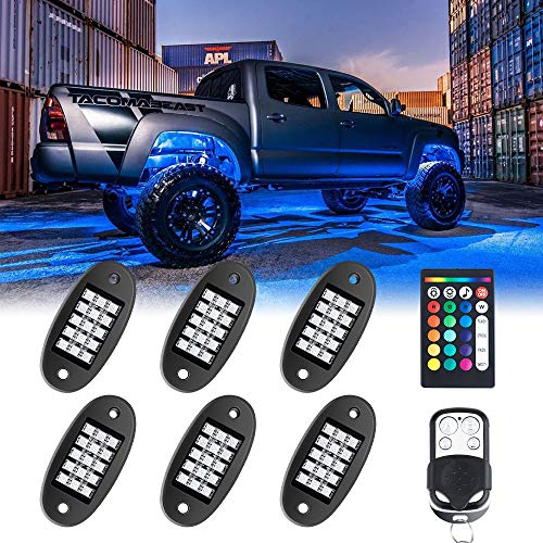 4 Pods RGB LED Rock Light Kits with APP Controller Underglow Multicolor Neon CREE LED Lights Kit Compatible with Underbody Offroad Truck Car ATV SUV Jeep Boat Waterproof Music Mode
