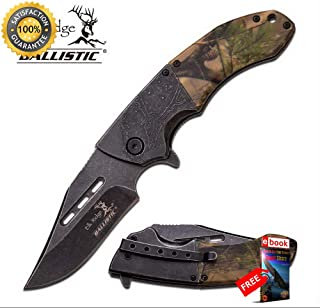 SPRING ASSISTEDED FOLDING POCKET Sharp KNIFE Elk Ridge Brown Camo EDC Hunting ERA006BC Combat Tactical Knife + eBOOK by Moon Knives