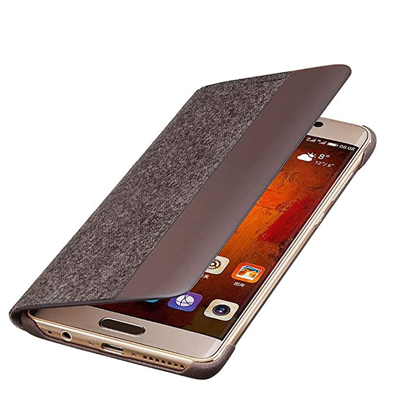 JLZS Huawei Mate 9 Pro Flip Smart Cover Anti-Fall Mobile Phone Case Back Front Cover Cloth Feel (Color : Brown)