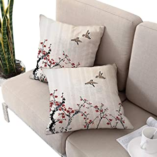 Watercolor Flowers Decor Collection Square seat Cushion Cover,Spring Cherry Branches Blooms and Birds in Classic Design Paprika Ivory W14 xL14 2pcs Cushion Cases Pillowcases for Sofa Bedroom Car
