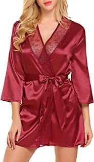 Sexy Women lace Long-Sleeved Nightgown Satin Kimono Swimsuit Underwear,Red,XXL,U.S