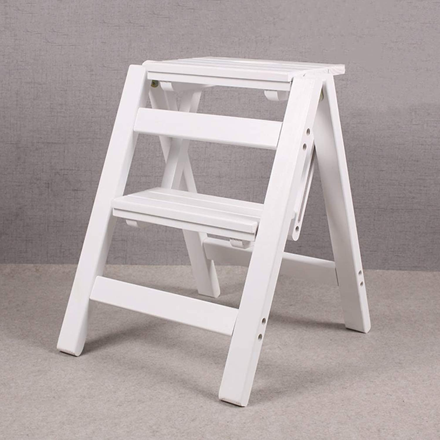 ZHAOYONGLI Stool Folding Ladder Solid Wood Step Stool Household Small Wooden Ladder Portable Folding Stool Creative Solid Durable Long Lasting (color   White, Size   2-Step Ladder)