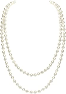 BABEYOND Art Deco Fashion Faux Pearls Necklace 1920s Flapper Beads Cluster Long