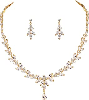 Silver/Gold/Rose Gold Plated Women Cubic Zirconia Round CZ Marquise Teardrop Bridal Necklace and Drop Earring Set for Bride Wedding