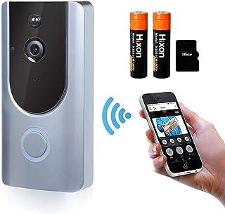 Hixon Videoportero WiFi Timbre Inalámbrico Video 166° HD Inteligente con Cámara, Visión Nocturna y Detección de Movimiento PIR