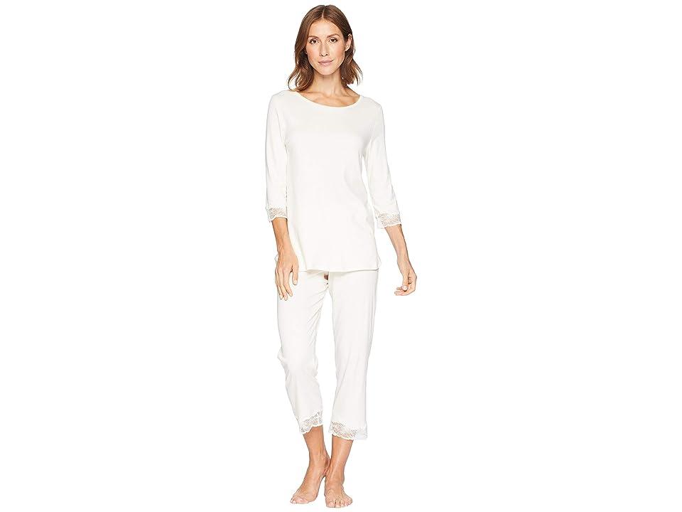 Hanro Valencia 3/4 Sleeve Cropped Pajama Set (Vanilla) Women