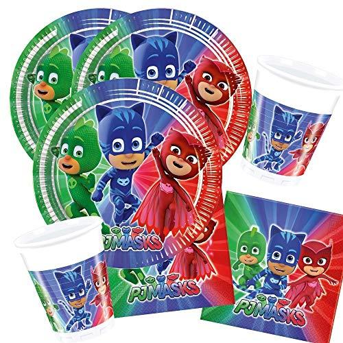 36-teiliges Party-Set PJ Mask Pyjamahelden - Party - Teller Becher Servietten für 8 Kinder