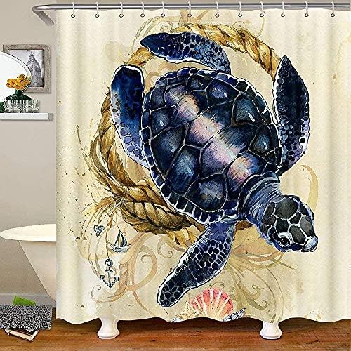 Navy Blue Sea Turtle Fabric Shower Curtains Nautical Bath Curtain Ocean Underwater Reptile Animals Shower Curtain 72' W X 72' L