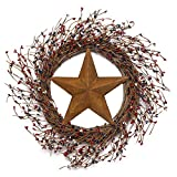 NeoL'artes 22 inch American Patriotic Wreath with Red White and Blue Pip Berries and Barn Star, 4th of July Decor Wreath for Front Door