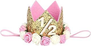 Plus Nao(プラスナオ) 子供 ヘアアクセサリー 飾り 帽子 王冠 フェルト お花 バラ 誕生日 1歳 2歳 3歳 ハーフバースデー 無地 メモリアルク