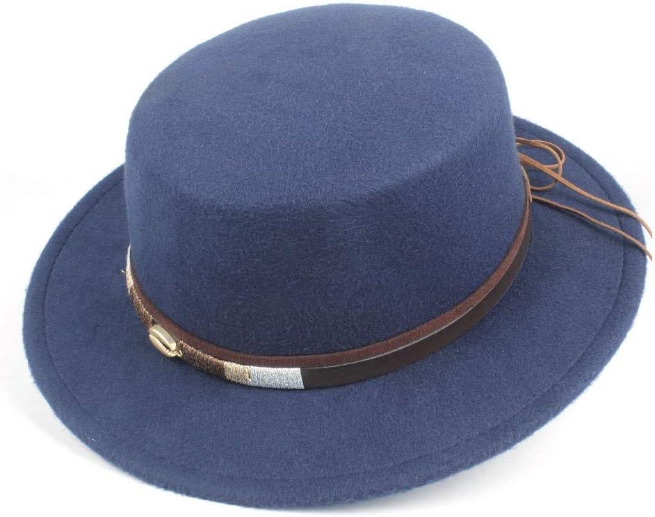 LIRRUI New Women Men Flat Top Fedora Hat Winter Casual Church Hat Outdoor Travel Hat Pork Pie Jazz Size 56-58CM (Color : Dark Blue, Size : 56-58)