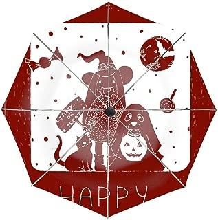Happy Halloween Red Pattern Umbrella Easy Touch Anti UV Unbreakable Windproof Compact Sport Umbrellas