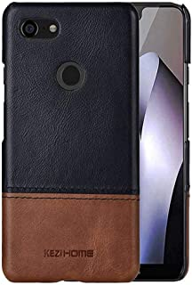 KEZiHOME Pixel 3 XL Case,Two-Tone Vintage Genuine Leather Back Cover for Google Pixel 3 XL (Black)