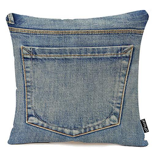 oFloral Quadratischer Kissenbezug mit blauer Landhausstil, leere Rückentasche von Jeans, Denim, Western-Dekoration, 50,8 x 50,8 cm, Baumwoll-Leinen-Kissenbezug