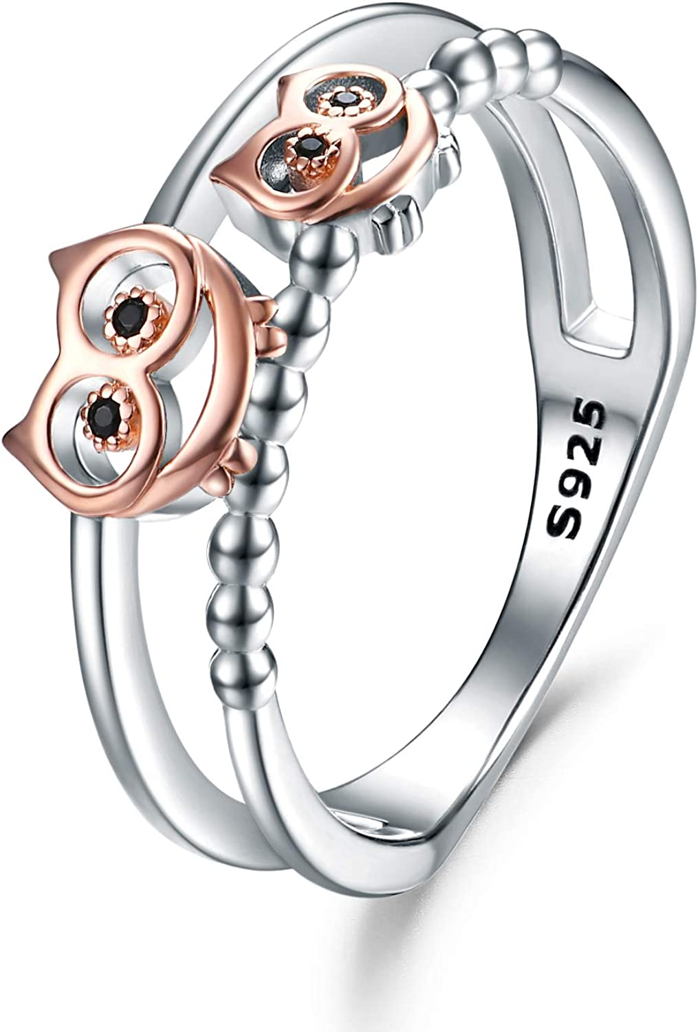 WIINNICACA S925 Sterling Silver Rose Gold - Animal Gorgeous Owl Owls Ring Max 77% OFF