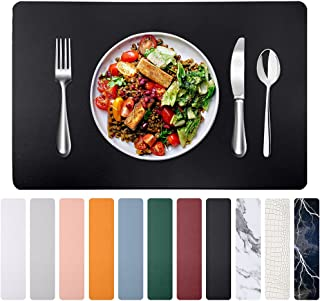 Herda Black Leather Placemats Dining Table Mats - Set of 4 Heat Resistant Waterproof Thick Easy Wipe Clean Table Plate Mat...