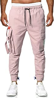 MK988 Men's Cotton Sports Elastic Waist Classic Sweatpants Multi Pockets Pants