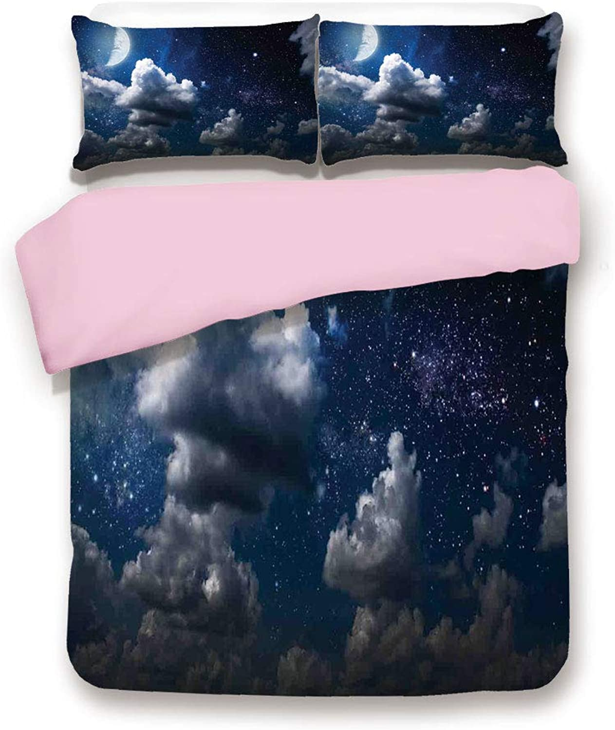 Pink Duvet Cover Set& xFF0F;King Size& xFF0F;Celestial Solar Night Scene Stars Moon and Clouds Heaven Place in Cosmos Theme& xFF0F;Decorative 3 Piece Bedding Set with 2 Pillow Sham& xFF0F;Best Gift For Girls Women& xFF0F;Dark bluee Whit
