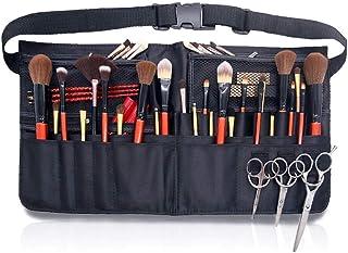 منظم حقيبة خصر مميز لتنظيم المكياج مع حزام، منظم فرش مستحضرات التجميل قابل للطي مع جيوب بسحاب