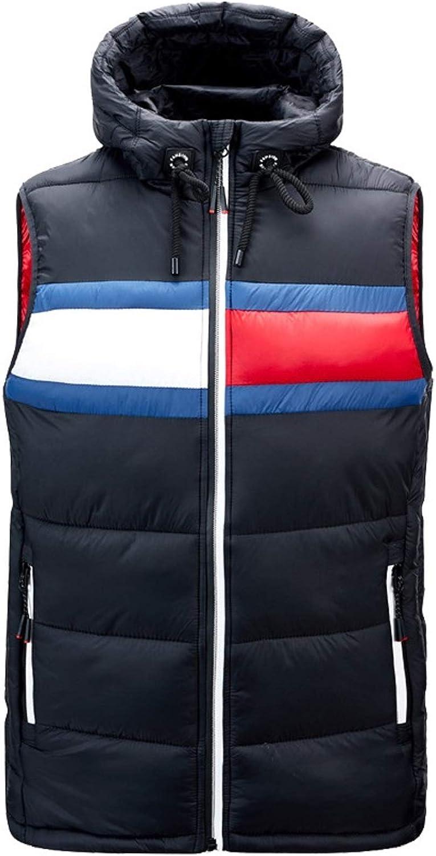 CHARTOU Men's Lightweight Drawstring Hooded Chevron Puffer Down Alternative Vest Jacket