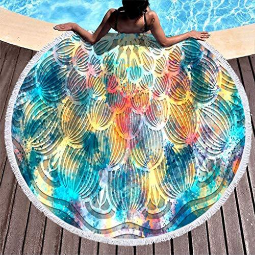 Go Go Grifendoor Toalla de playa redonda y elegante, para baño de color blanco, 150 cm