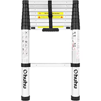 Ohuhu 8.5 FT Aluminum Telescoping Ladder, One-Button Retraction Extension Ladder, Extendable Ladder with Spring Loaded Locking Mechanism, Collapsible Ladder for Roof Ceiling