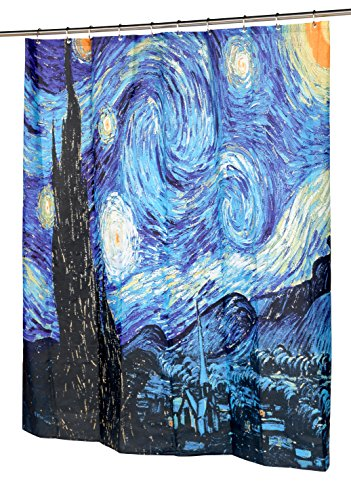 Carnation Home Fashions Cortina de Ducha de Tela de Starry Night