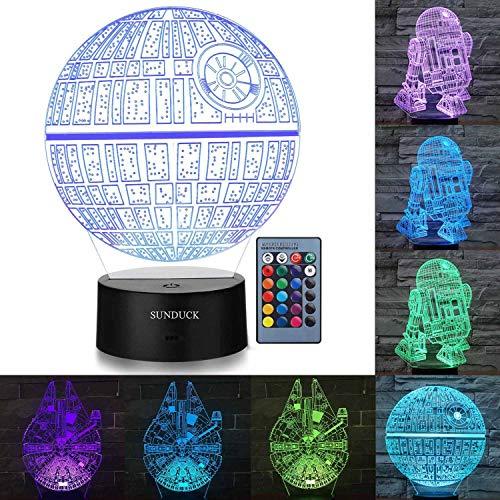 sunduck Lámpara de Noche con ilusión 3D de Star Wars – Tres Patrones y 7 Colores cambiantes Fans de Star Wars y niños