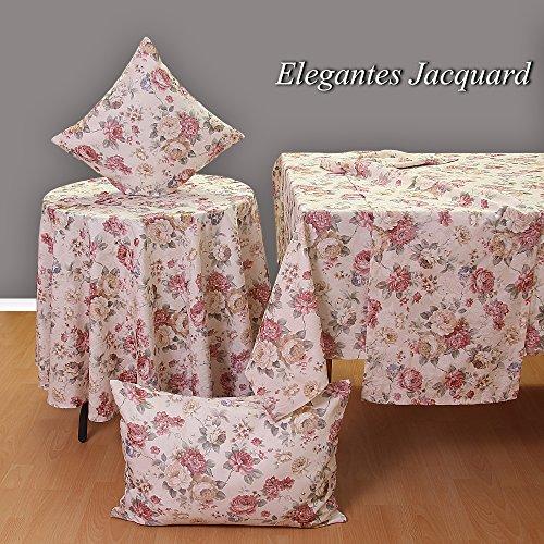edle Jaquard Rosen Tischdecke Tischläufer Kissenhülle schwere Qualität mit Saum - Größe wählbar (ca. 50 x 50 cm)