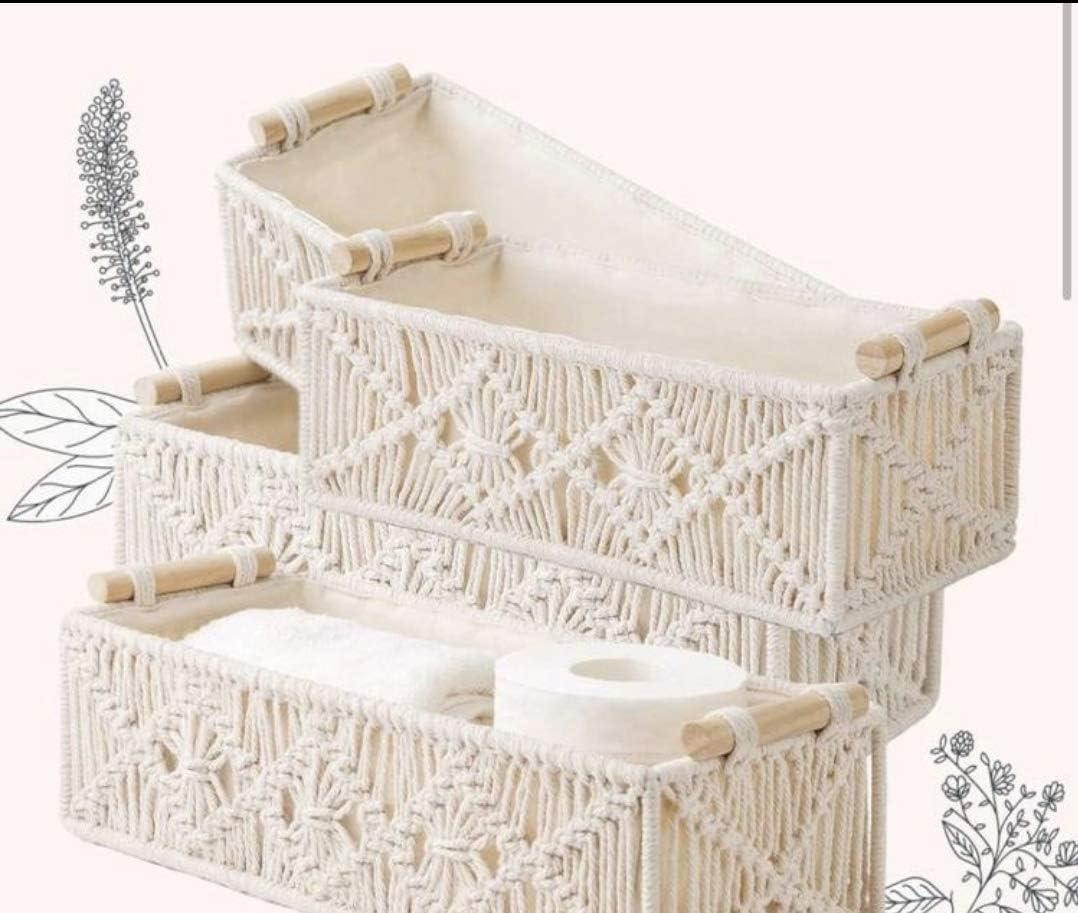 Macrame Storage Baskets Handmade Woven Decor Cab Countertop Boho New Free Gorgeous Shipping