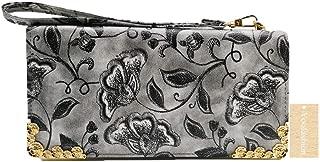 Yoofashion Women's Wallets Zipper Purse Gardenia Printing Clutch Bag Card Holder Fashion Wristlets Long (Gray)