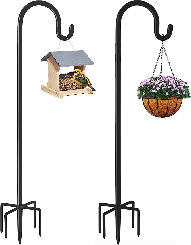 Derkniel Shepherd Hook 60 Inch Tall Heavy-Duty Metal Garden Hanging Pole Stake for Bird Feeders Plant Baskets , Black (2 Packs)