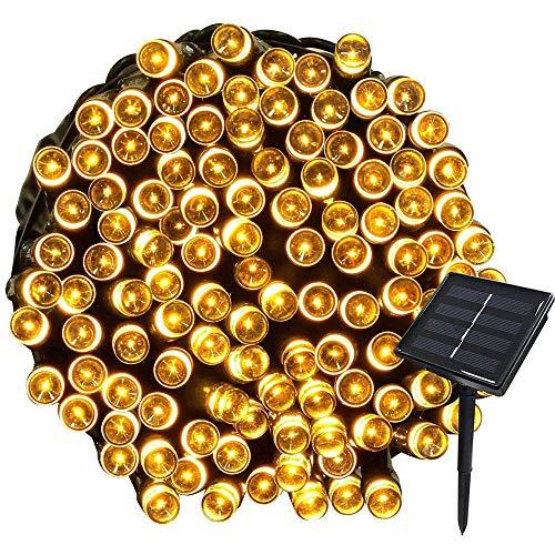 Cadena de luces solares, resistente al agua, 72 pies, 22 m, 200 LED, 8 patrones intermitentes, luces de hadas al aire libre para jardín, césped, fiesta, boda, decoración navideña (blanco cálido), ilu