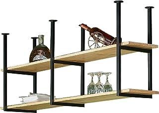 Présentoirs Étagère de montage au plafond, rack à vin flottant industriel, étagères en bois de rangement rustique, support...