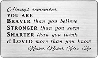 Inspirational Wallet Card Gifts, Permanent Engraving Wallet Insert, Always Remember You are Braver than You Believe, Never...