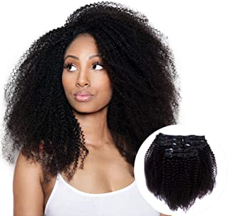 Vanalia 4A 4B Kinky Curly Clip in Remy Human Hair Extensions for Black Women, Natural Black, 120 Gram, 14 Inch