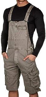 keepmore Men's Multi-Pocket Loose Jumpsuit Bib Overall Dungarees Shorts Jumpsuits