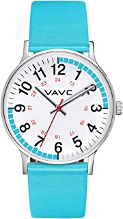 VAVC Men's Black Leather Band Causal Analog Dress Quartz Wrist Watch