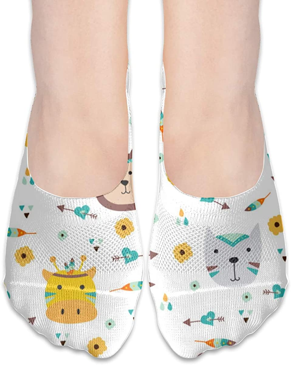 No Show Socks Women Men For Colorful Animals Indian Hunting Flats Cotton Ultra Low Cut Liner Socks Non Slip