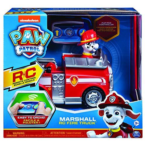 Paw Patrol 6054195 - Ferngesteuertes Feuerwehrauto mit Marshall-Figur, RC Fahrzeug in rot