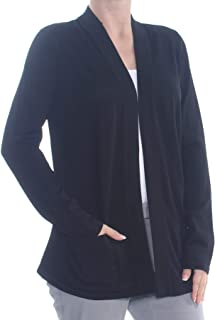 ANNE KLEIN Womens Black Pocketed Long Sleeve Open Cardigan Sweater Plus US Size: 1X