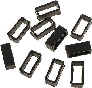 joyMerit 10pcs Passants en Silicone pour Bracelet de Montre - Noir 18mm