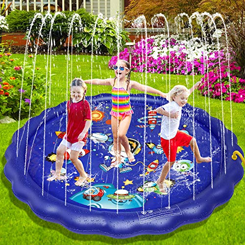 BIBIEN Splash Pad, Sprinkler for Kids Large 68'' in Water Mat, Sprinkler Pool for Kids Outdoor Play, Thicker Space Baby Splash Pads Swimming Pool & Kids Sprinkler for 2-12 Years Old Baby & Toddler