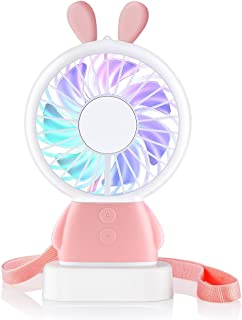 Mini Fan,Personal Portable Rechargeable Handheld Fan with Color LED Light 2 Adjustable Speeds Standing Base for House Travel Camping and Children Gifts - Pink Rabbit