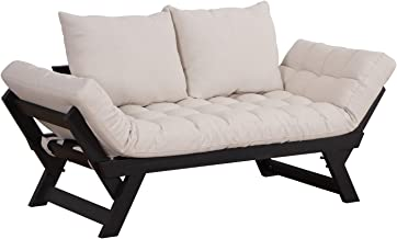 HOMCOM Single Person 3 Position Convertible Couch Chaise Lounger Sofa Bed, Cream White